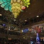 Confetti surrounds the Fantasy's beautiful chandelier during the Christening!