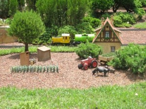 Miniature train village outside the Germany Pavilion