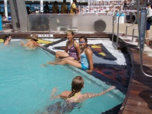 Swimming in the pool on Mariner of the Seas