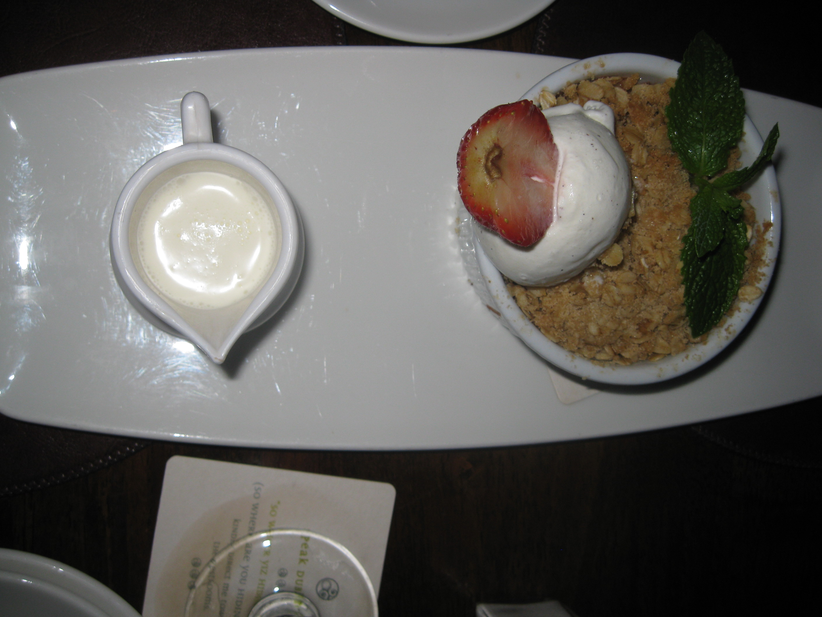 Raglan Road Strawberry Crumble with side of Cream