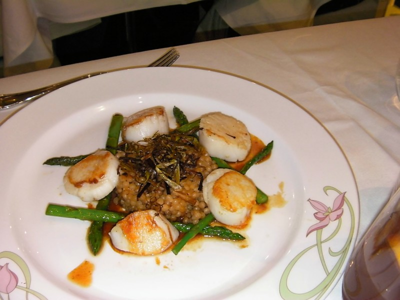 Disney Dream - Pearl Barley Stack with Scallops and Asparagus