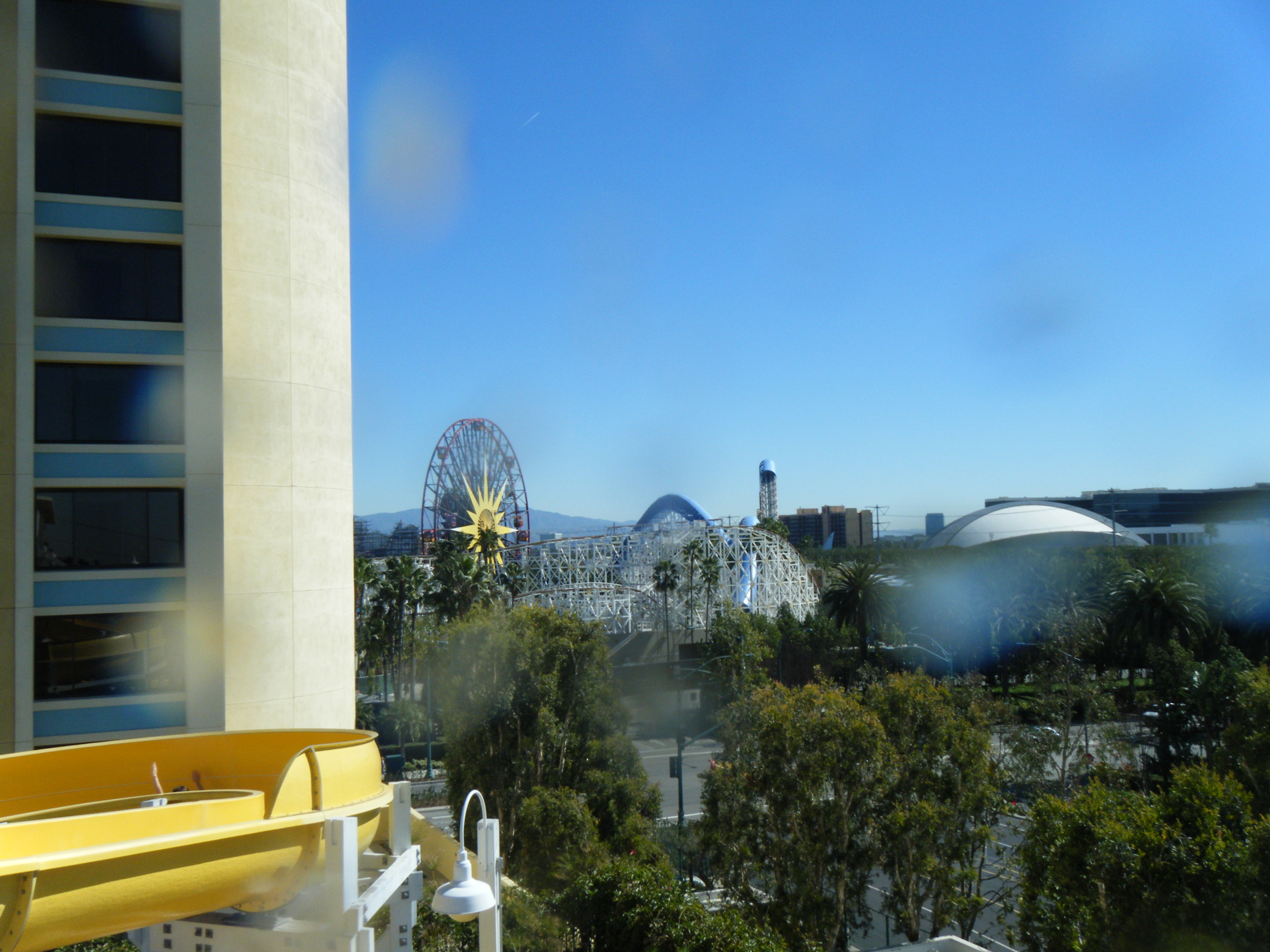 View of Disney California Adventure Park from the Top of the Paradise Pier Hotel Slide
