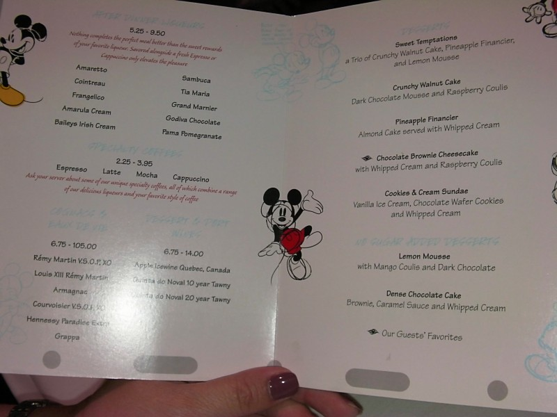 Disney Dream Animator's Palate dessert menu