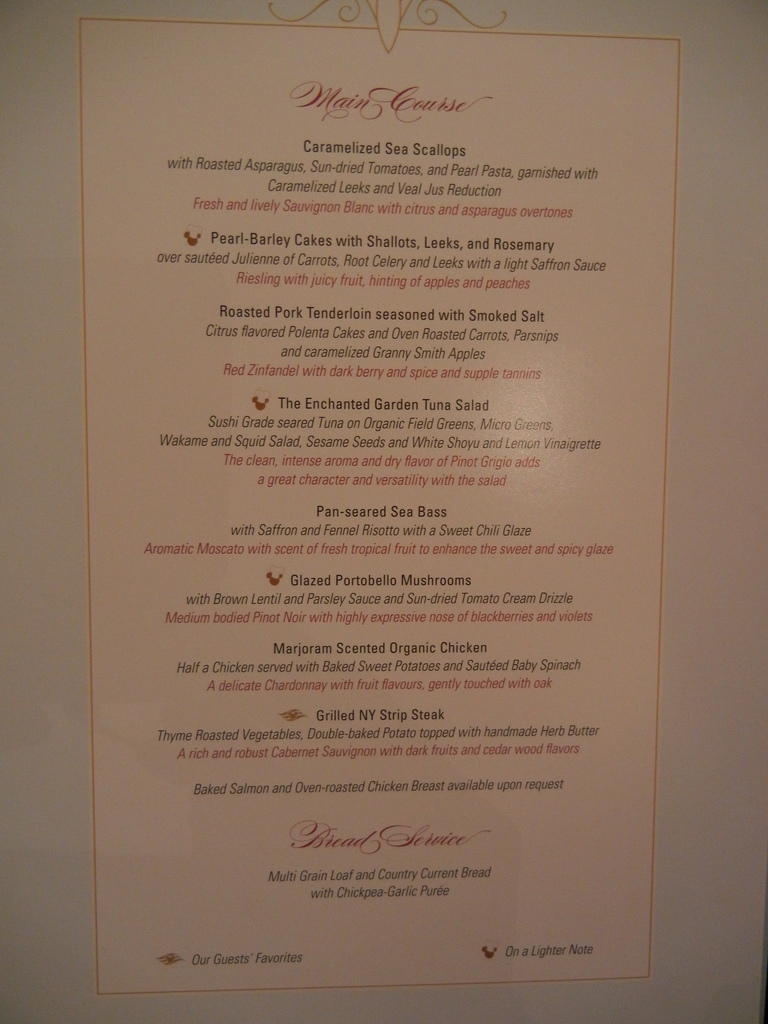 Disney Dream Enchanted Garden Main Course Menu