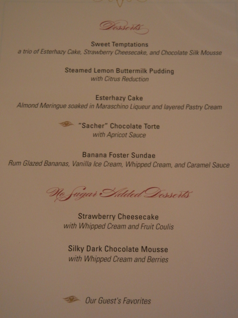 Disney Dream Dessert Menu