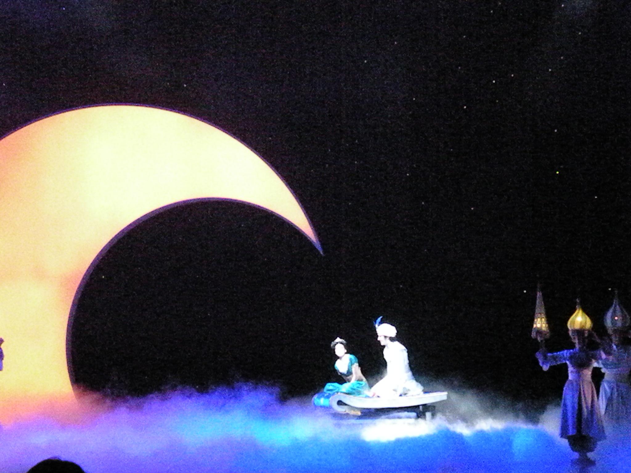 Prince Ali and Jasmine take a magic carpet ride through the theater.