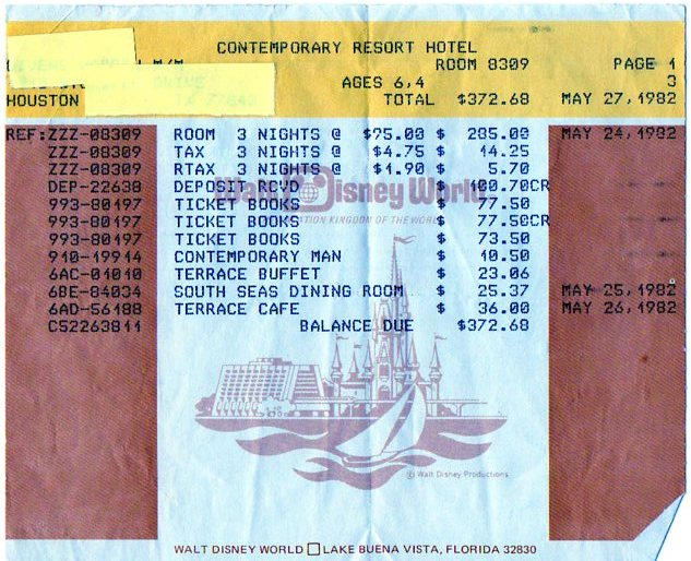 The final bill from our 3 night stay.