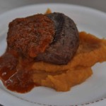 Seared Filet of Beef with Smashed Sweet Potatoes and Braai Sauce - South Africa
