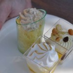 Lemon Chiffon; White Chocolate Macadamia Mousse with Dark Chocolate Pearls; Tres Leches Verrine; Vanilla Ice Cream with Grand Marnier - Desserts and Champagne