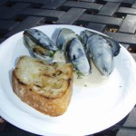 Steamed Mussels with Roasted Garlic Cream and a Baguette - Belgium
