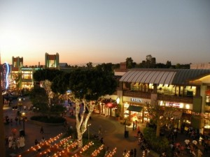 View of Disneyland's Downtown Disney from a balcony of Disney's Grand Californian Hote & Spa