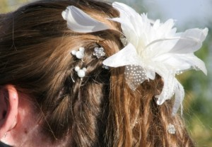 Disney touches in the brides hair