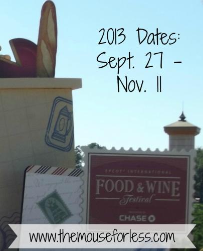 2013 EPCOT F&W Dates
