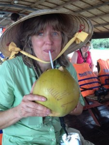 Testing out a coconut
