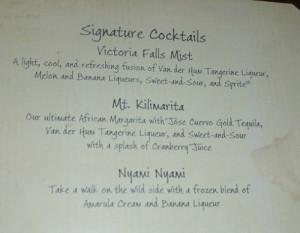Victoria Falls Specialty Drink Menu