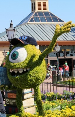 Mike Wazowski topiary as part of the Monsters University display