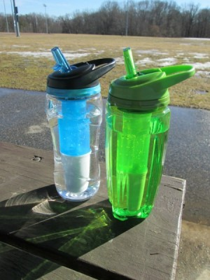 water bottles at park