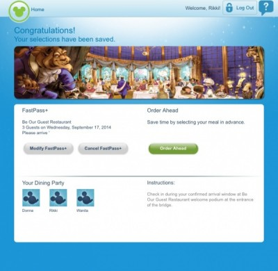 Be Our Guest FastPass Reservation 7