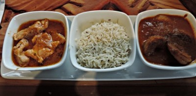 Chicken Vindaloo and Spicy Durban Shrimp with Basmati Rice
