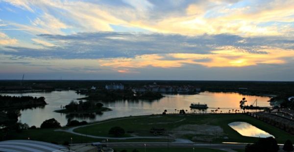 View of Bay Lake from California Grill on the 15th floor of the Contemporary Resort