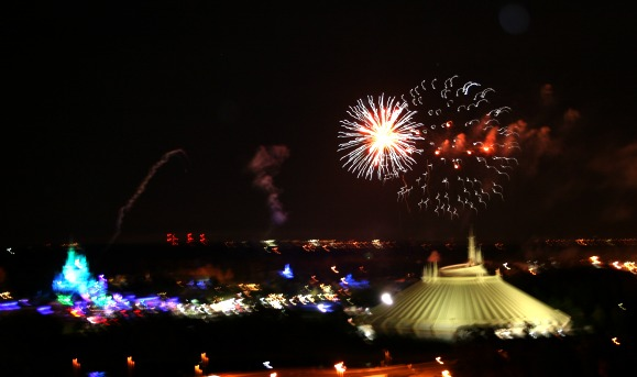 Magic Kingdom Fireworks from Observation Deck of the Contemporary Resort