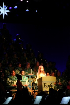 Jodi Benson, the voice of Ariel, tells the Christmas story to the captivated crowd