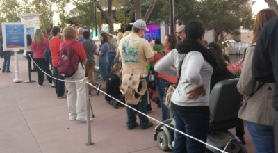 The line for the 6:45 show had already formed long before the 5:00 performance concluded