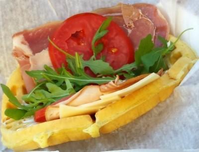 The Ham and Swiss Waffle Sandwich
