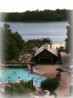 Wilderness Lodge Balconey View of Pool and Lake