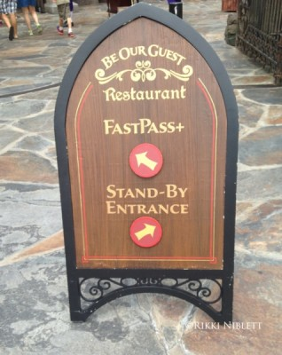 Be Our Guest Fastpass and Standby Sign