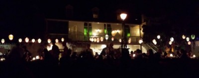View of the Blue Bayou Restaurant from the water