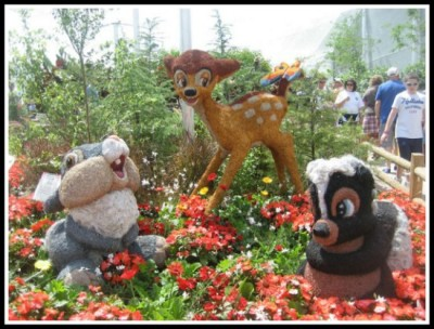 Bambi themed topiary inside last year's butterfly garden