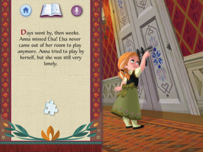 Reading the Frozen Storybook Deluxe app