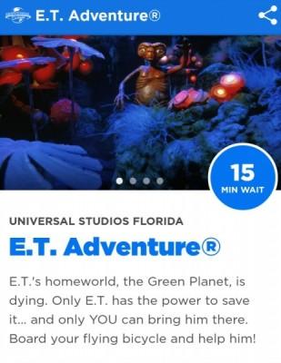 Universal App ET ride screen