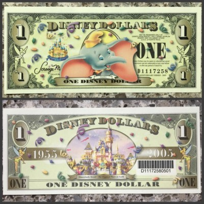 Disney Dollar $1 bill