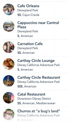 Disneyland App Restaurants