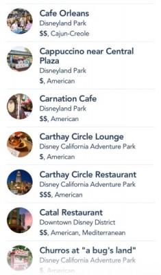 Disneyland App Restaurants
