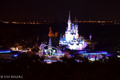 Magic Kingdom and Electrical Parade from Top of the World Lounge