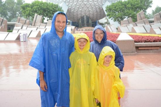 Epcot in rain ponchos