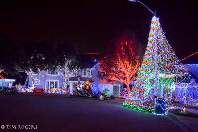 Christmas Light Show in Neighborhood