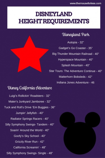 Height Restrictions at Walt Disney World and Disneyland