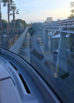 Ride up front on the monorail at Disneyland