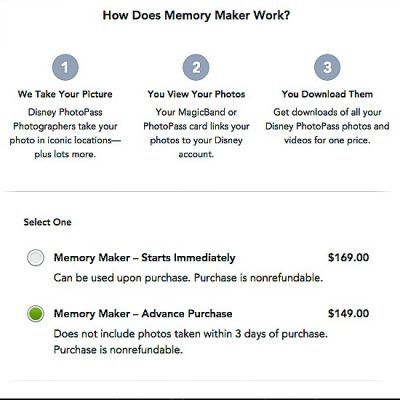 Memory Maker Purchase Options
