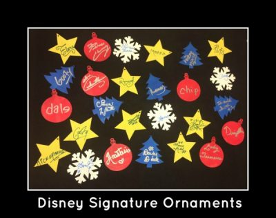 Disney Character Signature Christmas Ornaments - Alternative to the signature photo book