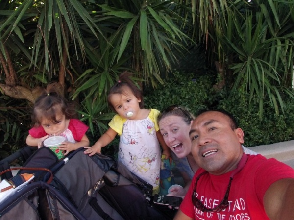 Family, toddlers, stroller