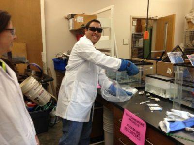 Author in lab