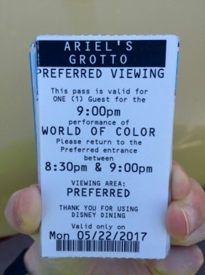 Ariel's Grotto World of Color FastPass