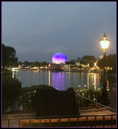 EPCOT's Spaceship Earth at dusk