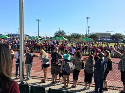 View from the grand stand at the Kids Races 100m dash | rundisney kids races
