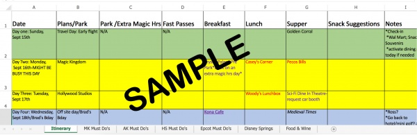 Disney World itinerary
